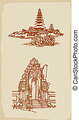 Balinese temple illustration - Classic hand drawing Balinese...