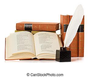 viejo, libro, tintero, púa, pluma