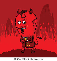 Red Devil - A dapper red devil wearing a suit in hell