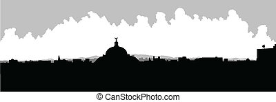 Mexico City Skyline - Skyline silhouette of Mexico City, DF,...