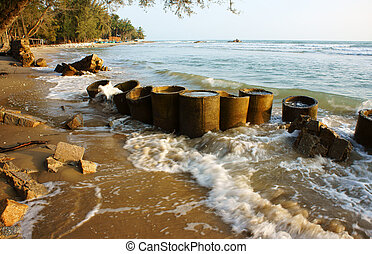 Erosão, onda, destruir, seawall, efeito, clima,...
