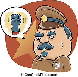 Dictator Fist - A cartoon dictator talks tough with a fist