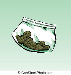 Dime Bag - A plastic cartoon dime bag filled with marijuana