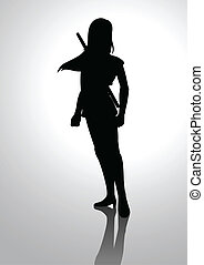 Warrior Girl - Silhouette illustration of a warrior girl