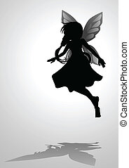 Pixie - Silhouette illustration of a pixie