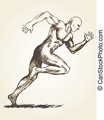 Sprinter - Sketch drawing of a man off to a fast start