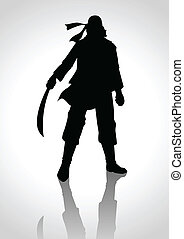 Pirate - Silhouette illustration of a man holding a sabre