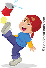 Cartoon Boy - Cartoon illustration of a boy kicking an empty...