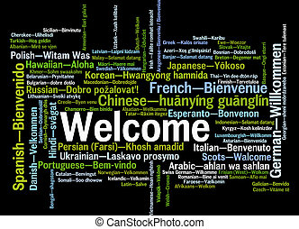 Welcome phrase words cloud concept - Welcome phrase in...
