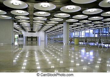 lamps - interior of airport perspective in Madrid, Spain