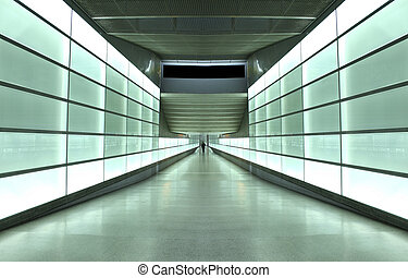 light tunnel - light wall tunnel in underground station in...