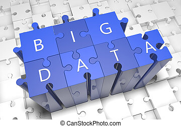 Big data - puzzle 3d render illustration with text on blue...
