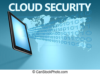 Cloud Security illustration with tablet computer on blue...