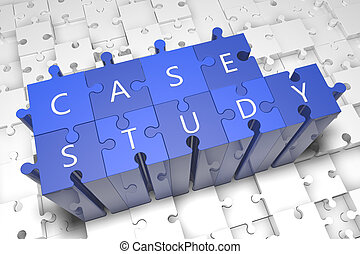 Case Study - puzzle 3d render illustration with text on blue...