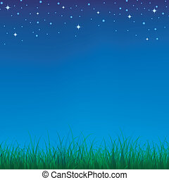 Green grass background under the night sky