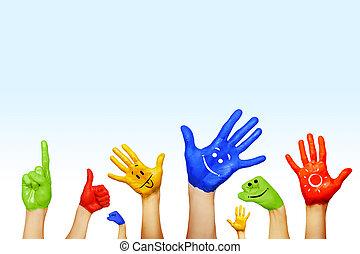 mãos, diferente, cores, cultural, étnico,...