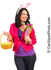 Beauty Easter bunny woman - Beauty woman with bunny...