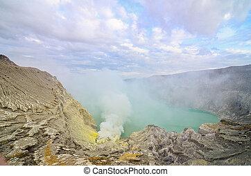 Kawah Ijen Volcano,Java island - Kawah Ijen Volcano,Java...