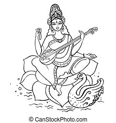 Hindu Goddess Saraswati. Vector hand drawn illustration.