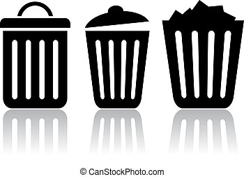 Trash bin icons, vector clip art