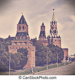 Red square in Moscow, Russian federation. Vintage retro style
