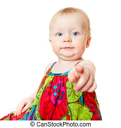 Funny baby girl pointing finger, isolated over white