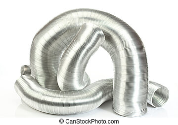 aluminium air tubes - Some aluminium air tubes on white