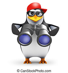 3d Binoculars penguin - 3d render of penguin looking through...