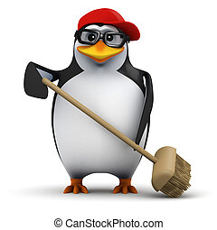 3d Cleaner penguin - 3d render of a penguin sweeping with a...
