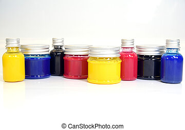 bottles - collection of bottles with ink in different colors