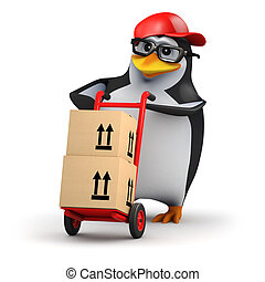 3d Courier penguin - 3d render of a penguin delivering boxes...