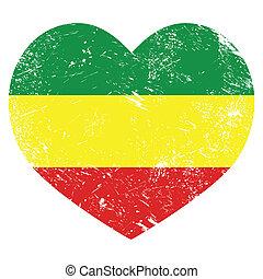 rasta, rastafarian, retro, coeur, drapeau
