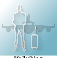 Illustration of businessman with suitcase and airplane