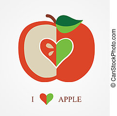 vetorial, Amor, maçã, Ilustração
