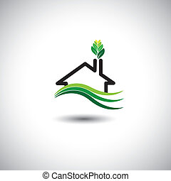 eco home concept vector icon. This graphic can also...