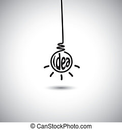 abstract idea bulb hanging & glowing - concept vector icon
