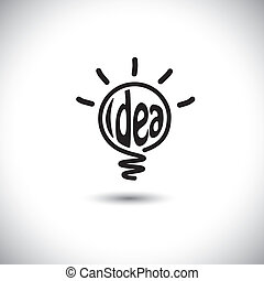 abstract idea bulb glowing - concept vector icon. This...