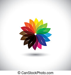 flower color wheel vector icon.