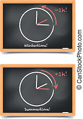 daylight saving - detailed illustration of blackboards with...
