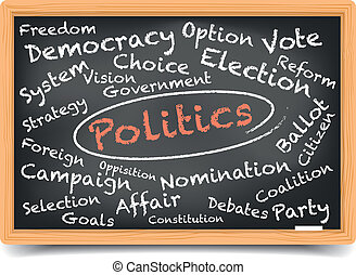 Politics Blackboard - detailed illustration of a Politics...