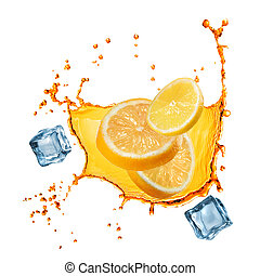 flying slices of orange and lemon in juice splash isolated...