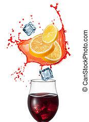 sangría, Bebida, ingridients, aislado, blanco, Plano...