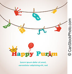 Jewish holiday Purim greeting card design