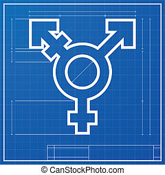 blueprint transgender symbol - detailed illustration of a...