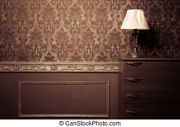 Vintage room interior toned image studio shooting