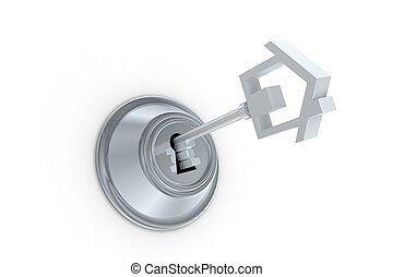House Key Lock - Home key lock illustration isolated on...