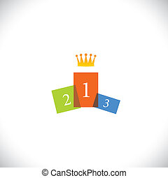 abstract colorful podium icon with crown - success vector concept. This graphic illustration also represents achievement, winner, best person in competition, beauty pageant, reaching goal, contest