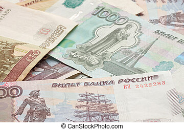 heap of Russian Federation banknote - close up of heap of...
