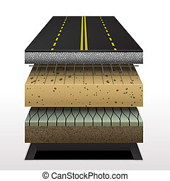 section of asphalt road Pavement layers Vector illustration