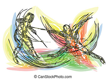 fencing. abstract sport silhouette. 10 EPS